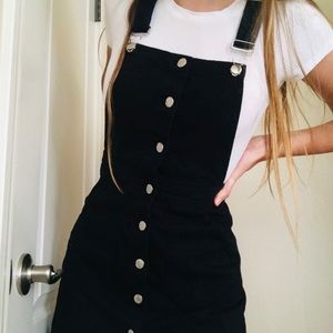 Brandy Melville Black Denim Overall Dress